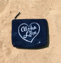 Hawaiian Aloha=Love Navy Summer Zipper Pouch Bag