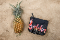 Hawaiian Love Pineapple Aloha Black Summer Zipper Pouch Bag