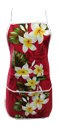 Hawaiian Simple Red Plumeria Flower Apron