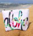 Hawaiian Aloha White Summer Zipper Pouch Bag