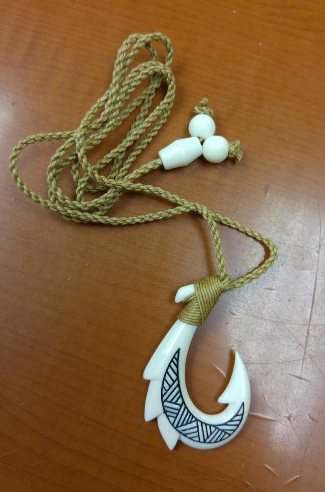 Hand Carved Tribal White Buffalo Bone Dragon Fish Hook Necklace Da808style Com